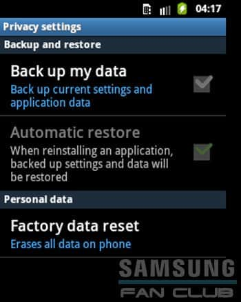 Factory data reset Samsung Galaxy Tab, Fit, Grand